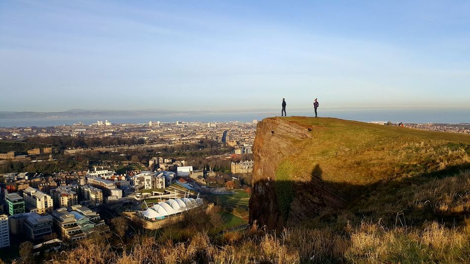 Salisbury Crags Edinburgh Arthurs Seat Arthur's Seat Edinburgh, Scotland Hiking Hikingadventures Cliff City City View  Winter New Year City Break Weekend Getaway EyeEm Selects Sea Beach Horizon Over Water Vacations Outdoors People Sky Landscape