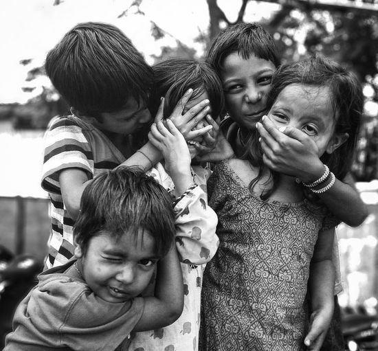 Monochrome Photography Bonding Togetherness Love Leisure Activity Family Lifestyles Elementary Age Girls Childhood Family With One Child Boys Person Single Father Son Father Smiling Headshot Daughter Happiness Friendship