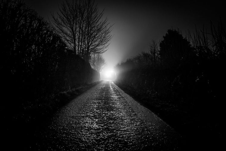 Dark country lane with mysterious light on the horizon. Backlight Night Lights Night Photography Nightphotography Perspective Road Black And White Blackandwhite Countryside Horizon Illuminated Landcape Lane Mystery Night No People Scary Silhouette The Way Forward Tree