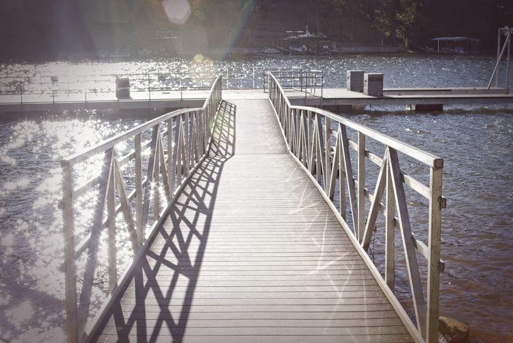 Wooden footbridge over water