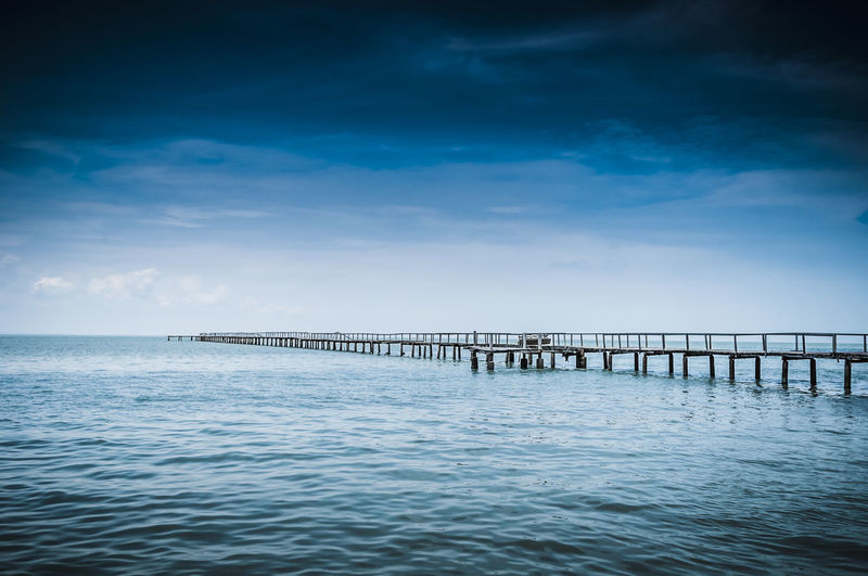 Tranquil view of pier at sea against sky