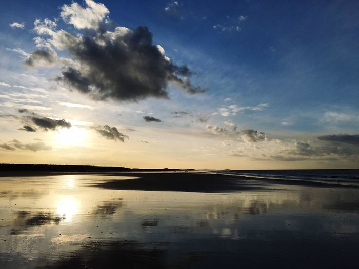 Holkham beach in Norfolk. Holkham Beach Norfolk Sky Tranquil Scene Scenics Sunset Tranquility Cloud - Sky Water Nature No People Outdoors Sea