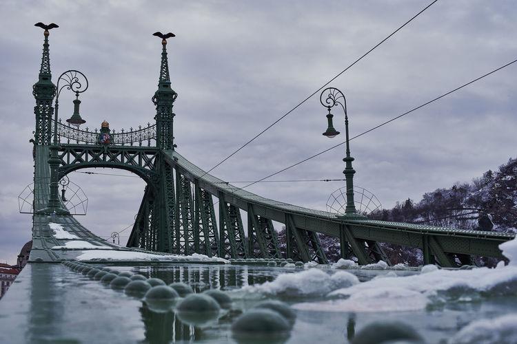 Bridge against sky during winter
