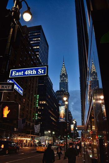 Manhattan Chrysler Building NYC USA Architecture Built Structure Building Exterior City Illuminated Building Night City Life Tower Street Sky Skyscraper