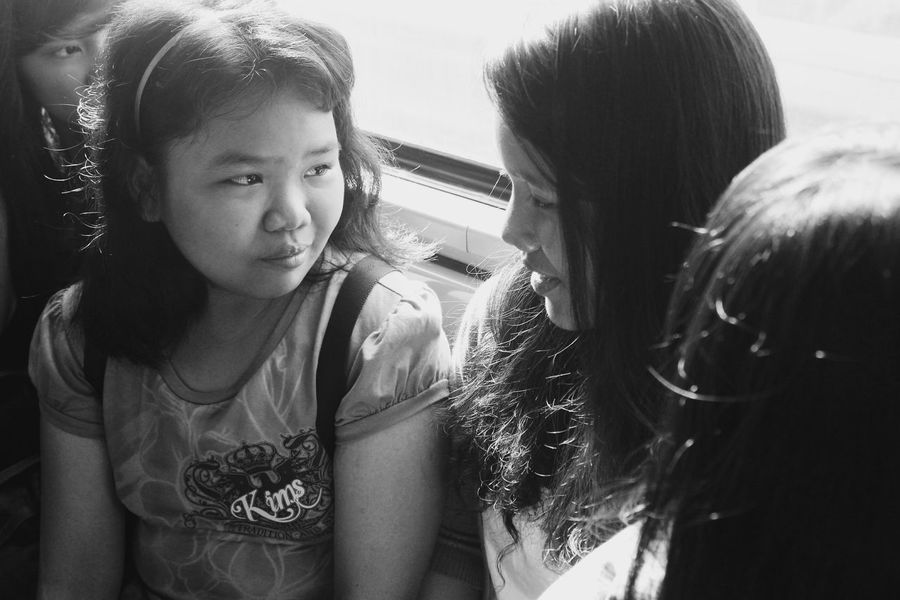 Fresh On The EyeEm First Eyeem Photo EyeEm Phillipines Youth Of Yesterday Childhood Days Sisters Train Ride Morning Ride  Nice Talk Sharing A Moment Fresh On Eyeem  Black And White People And Places