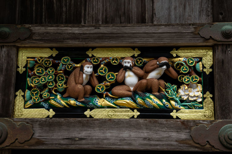 3Monkeys Japan Monky Nikko Architecture Art And Craft Belief Building Built Structure Close-up Craft Creativity Floral Pattern Human Representation Indoors  No People Ornate Place Of Worship Religion Representation Sculpture Spirituality Statue Wood - Material