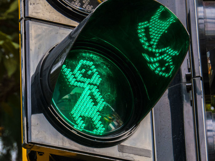 Close-up of pedestrian traffic light