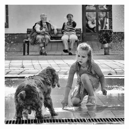Piotr Adamczyk Photography Canine Child Childhood Dog Domestic Domestic Animals Full Length Girls Innocence Mammal One Animal People Pets Real People Sitting Transfer Print Vertebrate Women