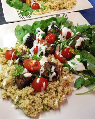Healthyfoodmag meatball and couscous salad Healthy Eating Food Healthy Food Selective Focus Indulgence Serving Size Meal Appetizing  Meatballs Couscous