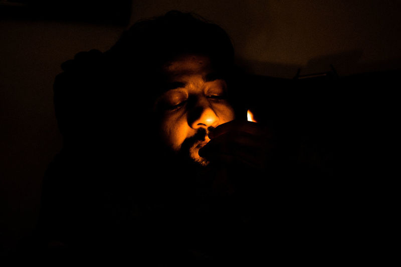 #fire #friend Close-up Dark Darkroom Indoors  Night Real People