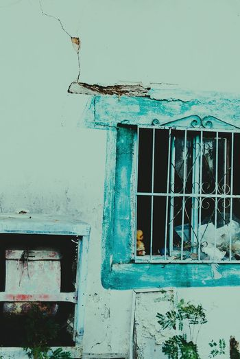 Window Architecture Sky Outdoors Poverty Mexico Broken Window Shack Teal Broken Sadness Blue Wooden EyeEmNewHere New Talent