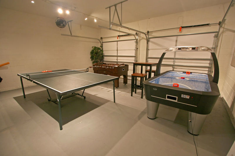 A Games Room with Pool Table, Table Tennis and Foosball. Air Hockey Architecture Built Structure Ceiling Domestic Room Empty Equipment Flooring Foosball Furniture Games Room Illuminated Indoors  Lighting Equipment No People Table Table Tennis