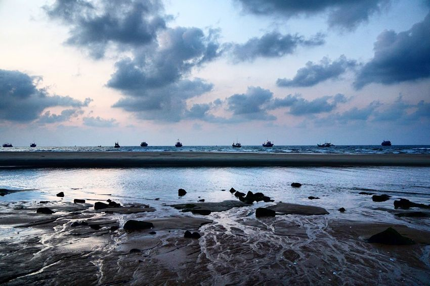 Early morning at hometown ! Blue Sky Early Morning Sky Beach Life EyeEm Vietnam Hometown Love Beach Photography Nature Photography Seascape Hometown Sky