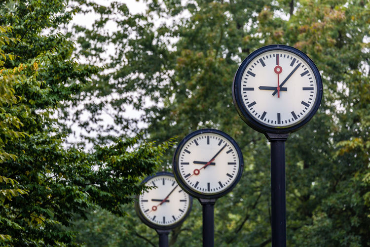 Low angle view of clocks against trees