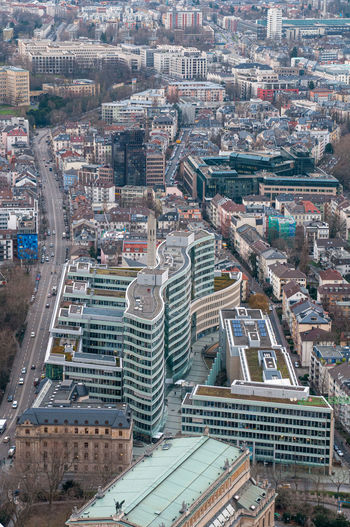 High angle view of modern buildings in city at frankfurt germany