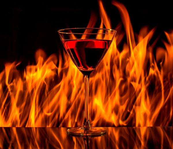 Alcohol Burning Close-up Drink Drinking Glass Fire - Natural Phenomenon Flame Flames Flames & Fire Food And Drink Heat - Temperature Indoors  Martini Glass No People This Glas Is On Fire Wine Wineglass