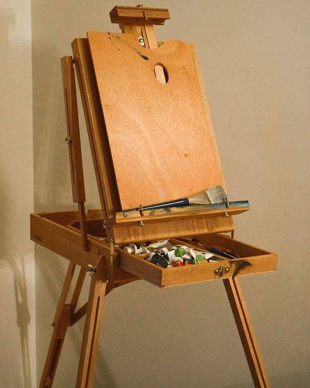 Empty wooden easel