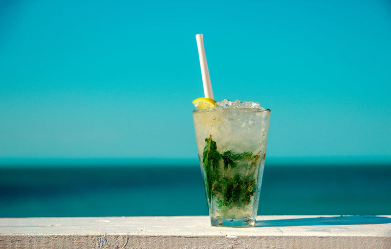 Just a Mojito cocktail. Sunny Blue Clean Close-up Cocktail Day Drink Drinking Glass Drinking Straw Food And Drink Fresh Mojito Outdoors Refreshment Sea Sky Tropical Drink Water