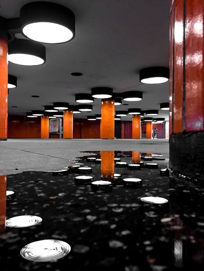 Berlin Berlin Photography Berliner Ansichten Berlin Ceiling Transportation Built Structure No People Reflection Light Puddle Underpass