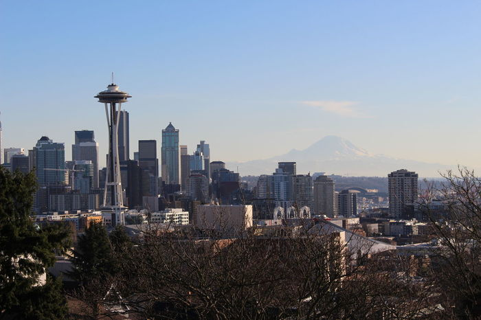 Architecture City City Life Cityscape Clear Sky Day Kerry Park Modern Mount Rainier Mountain Skyscraper Space Needle Tall - High Travel Destinations Urban Skyline View