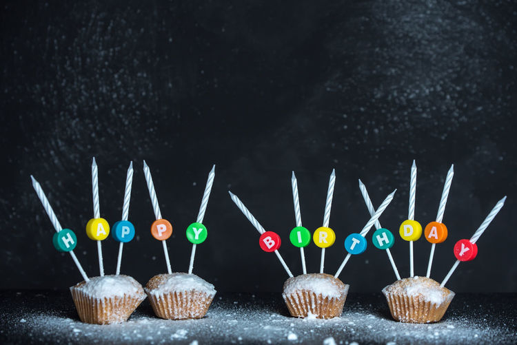 happy birthday cupcakes Happy Birthday Candle Blackboard  Multi Colored Choice Variation Celebration Close-up Cupcake Sprinkles Icing Muffin Sponge Cake