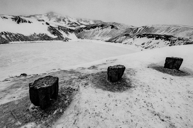 Víti crater, Krafla, Mývatn, Iceland - 30.11.2016 Caldera Crater Iceland Island Krafla Krater Monochrome Myvatn Snih Snow Sopka Viti Volcano
