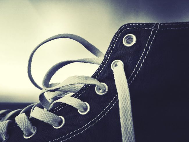 Single Object Close-up Still Life Metal No People Indoors  Day Shoe Sneaker Chucks Sneakers Detail Fashion Lace Shoelace Textile Eyelet Eyelets Black & White Black Monochrome