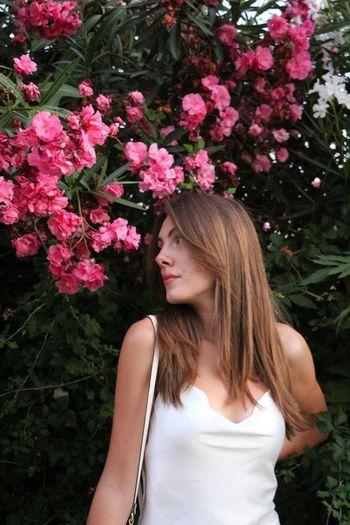 White dress,pink flowers
