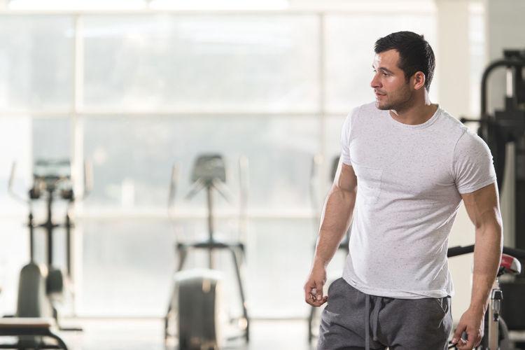 Full length of man walking indoors