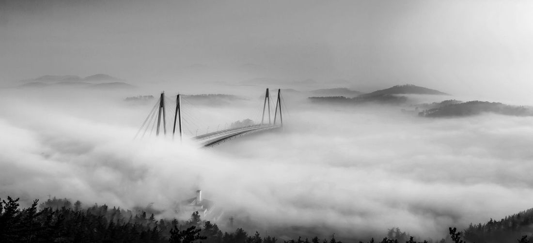 Architecture Bridge - Man Made Structure Fog High Angle View Scenics Sky Landscape EyeEm Landscape Tranquil Scene Tranquility