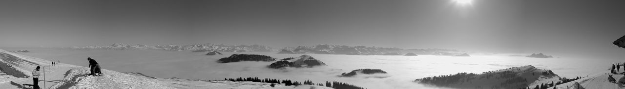 Cold Temperature Filter Fog Landscape Mountain Mountain Range Nature Panorama Pilatus Rigi Rigikulm Sea Of Fog Snow Snowcapped Switzerland Tranquil Scene Tranquility Winter Black And White Monochrome Nikon Here Belongs To Me The Great Outdoors With Adobe Fine Art Photography