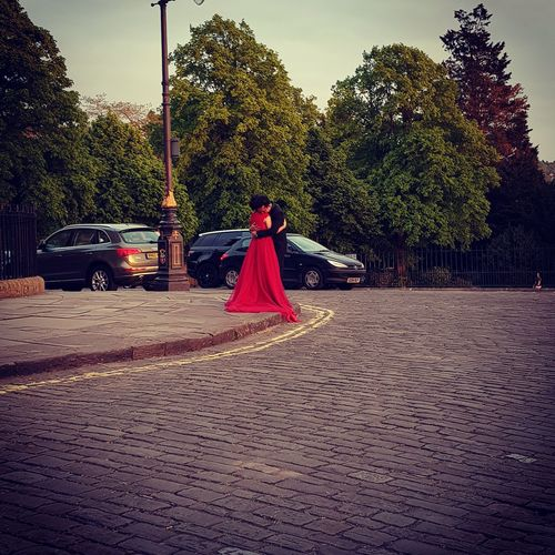 Adult Red People Adults Only Young Adult Sky Women Tree Love Couple - Relationship Reddressedwoman