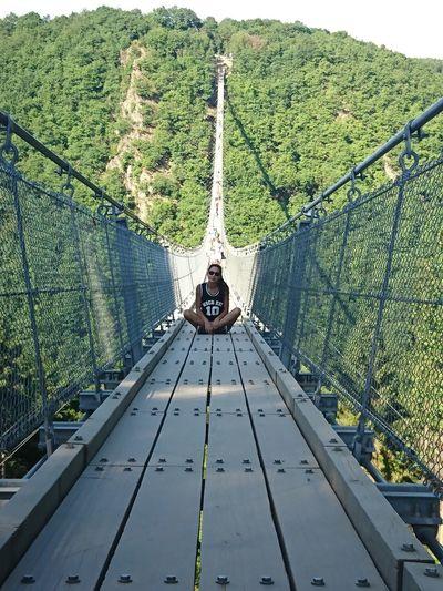 Transportation Day Bridge - Man Made Structure Railing Outdoors Mode Of Transport Men Mountain Nature