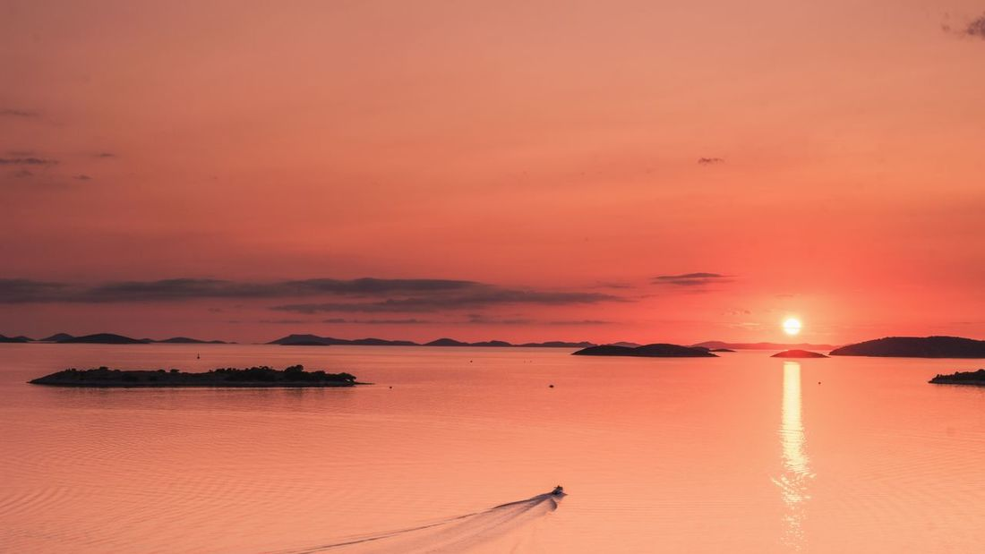 Tribunj Tribunj Croatia Croatia Adriatic Sea EyeEm Selects Sunset Orange Color Dramatic Sky Sun Sea Sand Landscape Tranquility Beach Sunlight Cloud - Sky Beauty In Nature Reflection Nature Water Tourism Red Scenics Vacations Sky