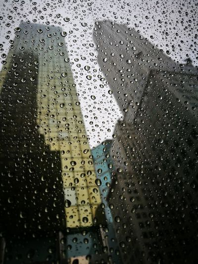 New York City Tourists October Rain Mystery Small Detail Where? Blue 42nd Street adventures in the city America Drizzled With Rain Reflection Skyward View Droplet Water Drop Detail Pink Transparent Looking Through Window Glass Rainfall Blurred Green