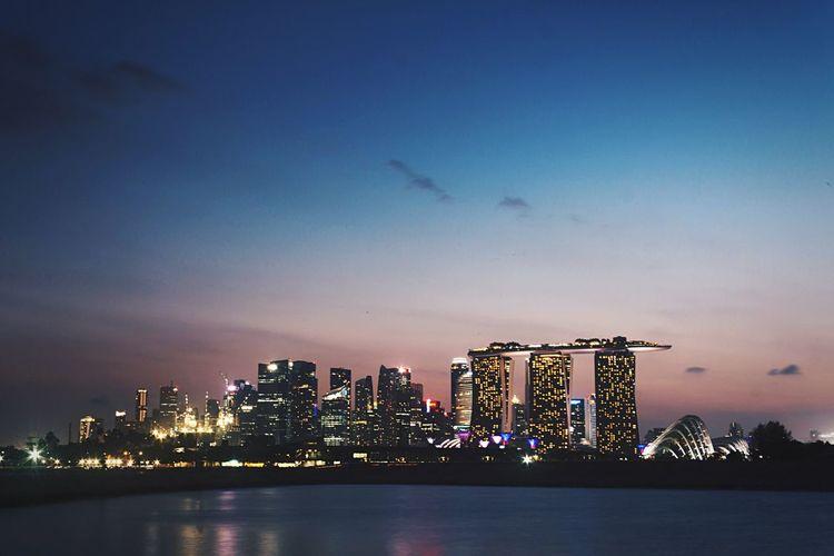 Illuminated Marina Bay Sands During Twilight