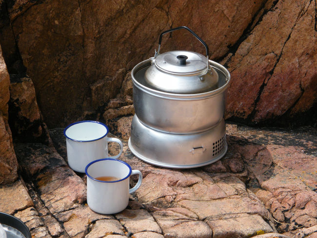 Camping Cup Of Tea Al Fresco Camping Stove Camping Stoves Close-up Day Indoors  Meths Cooker Meths Stove No People Outdoor Cooking Outdoor Life Outdoors