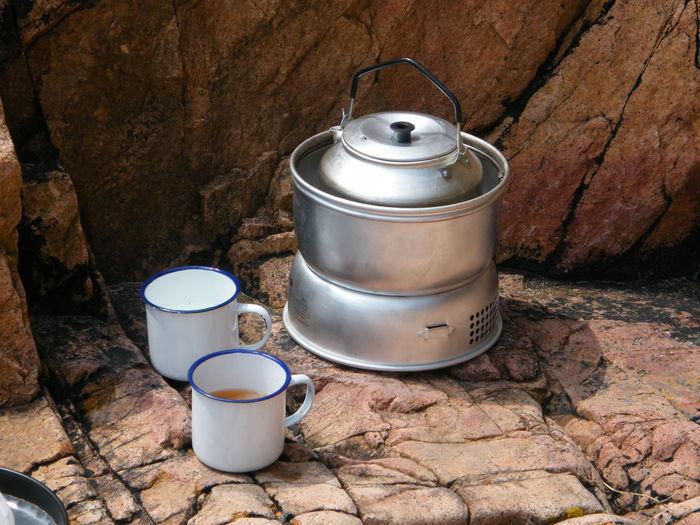 Close-up view of trangia camping stove