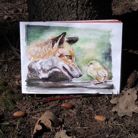 За секунду до...надеюсь лис вегетарианец))) Fox🐺 Watercolor Painting Drowing Animals Like ? ❤ Loveanimal Art Sketching акварельныйрисунок скетч лисичка картинки Рисование животные рисоватьтакрисовать