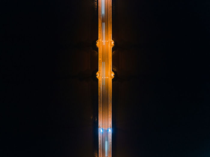 Aerial View Of Light Trails On Bridge At Night