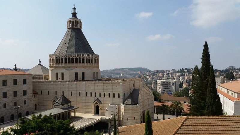 nazareth church of annunciation Annunciation Architectural Feature Architecture Basilica Biblical  Building Exterior Built Structure Capital Cities  Cathedral Church Day Famous Place Façade Israel Maria Mary Nazareth Outdoors Religious Architecture Sky Tourism Travel Destinations