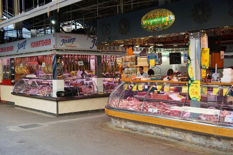 La Boqueria market Barcelona Boqueria  Butcher Catalonia City Life Europe Food Ham Jamon La Boqueria Market Market Hall Market Stall Meat Mercat De Sant Josep Shopping SPAIN Travel