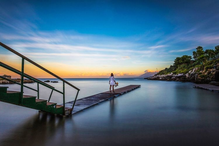 Sant'Elia - Palermo Palermo Italia Italy Europe Seascape Landscape Sea Sea And Sky Long Exposure Girl Dream Sogno Pontile Nature Woman Peluches Sky Tramonto Sunset Canon Canonphotography Leefilters Sicily Sicilia