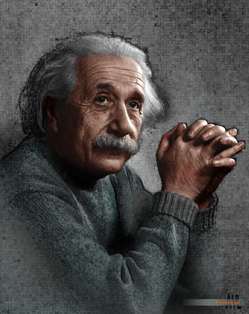 Albert Einstein, colorized and stylized from a photo by Yousuf Karsh, possibly in the late 1940s. Celebrity Nobel Prize Scientist Einstein Human Hand One Person people and places Physicist Portrait Studio Shot White Hair