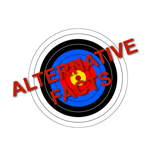Sport target illustration with the text Alternative Facts. Alternative Alternative Facts Archery Caution Concert Danger Disinformation Facts Fake False Government Hoax Illustration Lie Message News No People Politics Propaganda Red Target Text USA Warning Words
