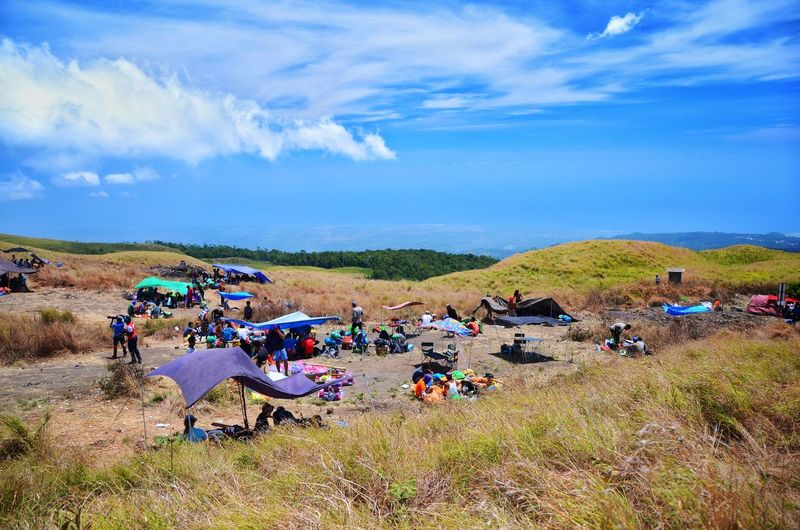 MOUNT RINJANI, LOMBOK INDONESIA. SEPT 16th 2017- Group of tourist take a rest before continue their journey to Mount Rinjani via sembalun route. Good weather with amazing blue sky. INDONESIA ASIA Mount Rinjani Sembalun Route Sembalun Route Background Wallpaper Rest Group Mount Rinjani Hiking Pole Crowd Agriculture Rural Scene Sky Cloud - Sky Tent Camping Explorer Hiker Hiking Pole Backpack Camping Stove