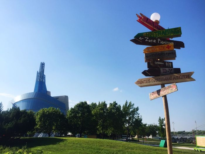 Where to? Only In Canada Destination Human Rights Museum Of Canada Guidance Clear Sky Day Direction Outdoors Communication Low Angle View