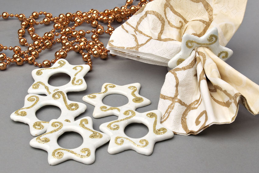 Christmas Close-up Dekoration Gold Gold Colored Indoors  Napkin, Ring, No People