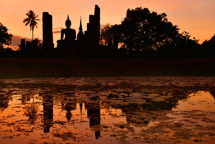 Buddha statue in sunset time. Sukhothai Historical Park, Sukhothai, Thailand. Sukhothai Historical Park Sukhothai, Thailand Architecture Beauty In Nature Building Exterior Built Structure Day Nature No People Outdoors Palm Tree Reflection Silhouette Sky Sukhothai Sunset Travel Destinations Tree Water