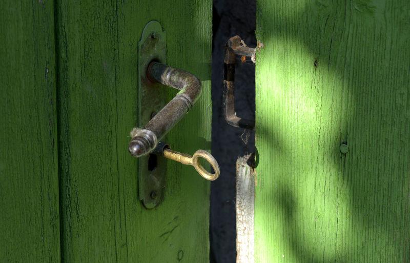 Close-Up Of Key In Closed Door